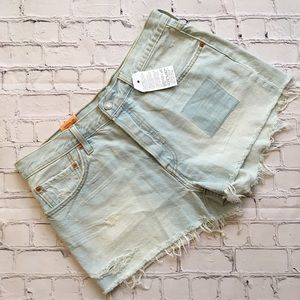 Distressed Patches Levi Straight Leg Jean Shorts